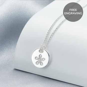 Personalised Angel Of Mine Flower Necklace