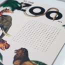 Children's 'At The Zoo' Gold Foil Word Search Print