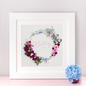 Personalised Name And Date Floral Wreath Print - shop by subject
