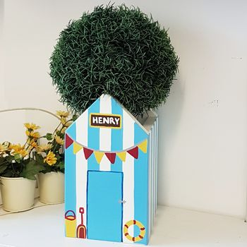 Beach Hut Plant Holder - Blue Verditer
