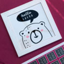 Personalised 'Hello' Bear Framed Tile Picture