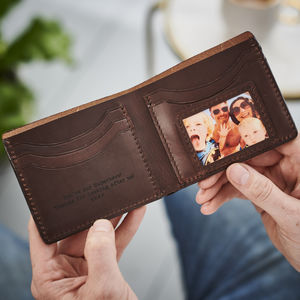 Personalised Leather Wallet With Metal Photo