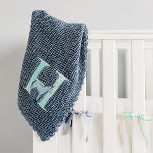 Personalised Alphabet Knit Blanket Blue