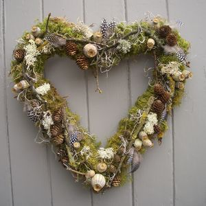 Poppy Cone And Lichen Twig Heart Wreath - home accessories