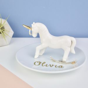 Personalised Unicorn Ring And Jewellery Dish - jewellery storage & trinket boxes
