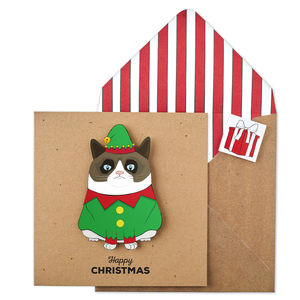 Personalised Christmas Grumpy Elf Cat Xmas Card - cards