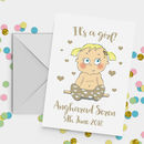 Personalised Baby Girl Card A5