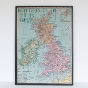 Personalised Embroidered UK And Ireland Map Noticeboard - textile art