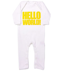 Hello World Baby Grow, All In One Sleepsuit Yellow - babygrows