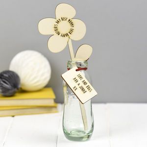 Mum's Gift Of Personalised Wooden Flower - fresh & alternative flowers