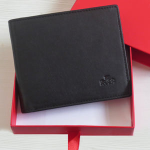 Black Leather Wallet Rfid Protected Shielded Gift Boxed