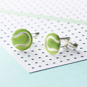 Silver And Enamel Tennis Ball Cufflinks - men's accessories
