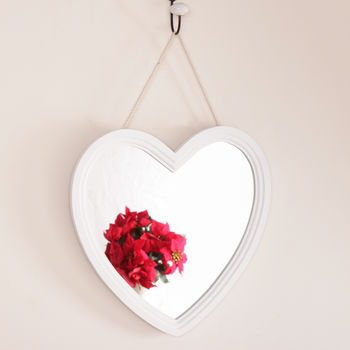 Enchanting Country Cream Heart Shaped Hanging Mirror