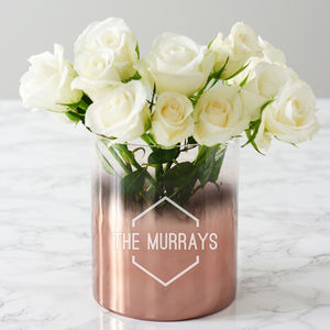 Personalised Family Name Copper Ombre Vase - table decorations