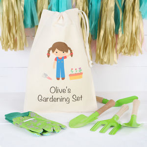 Girls Gardening Set With Personalised Bag - gifts for children