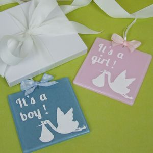 Handmade Hanging Glass Stork Gender Reveal Keepsake