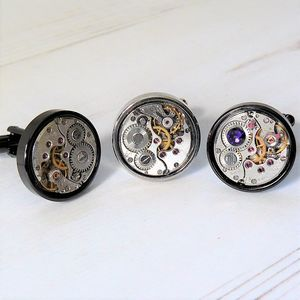 Round Watch Movement Cufflinks With Colour Option