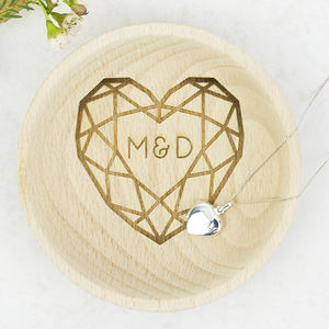 Personalised Wedding Couples Wooden Ring Dish
