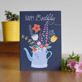 Floral Tea Pot Birthday Card