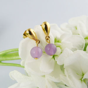 Dainty Gold Stud Earrings With Tinted Quartz Stone - earrings