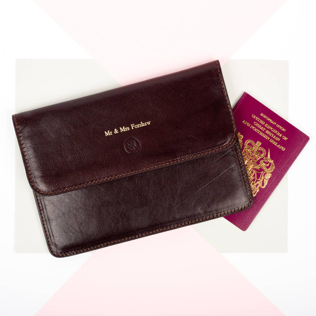 Personalised mr and mrs leather travel document holder by maxwell personalised mr and mrs leather travel document holder gumiabroncs Image collections