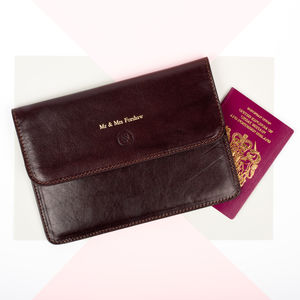Personalised Mr And Mrs Leather Travel Document Holder