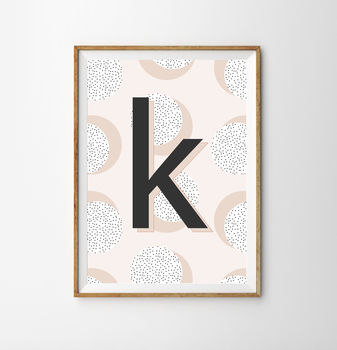 Monogram Pink Children's Nursery Print
