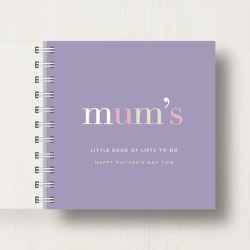 Personalised 'Mum's' Mother's Day Small Notebook in dark mauve