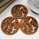 Wooden Drinks Coasters With Leaf Design, Set Of Four