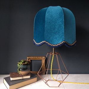 Teal Velvet Vintage Lamp - dining room