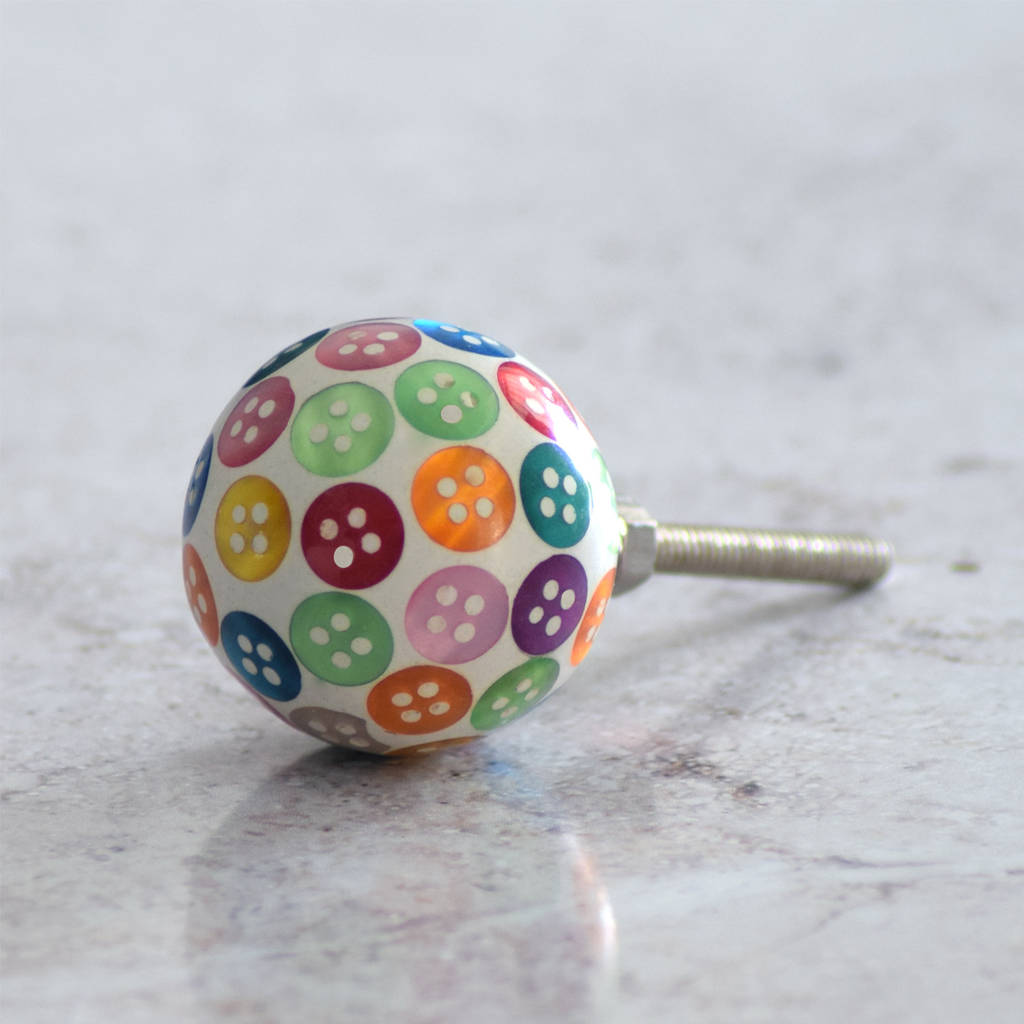 Colourful Button Cupboard Bedroom Door Knobs