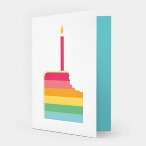 Rainbow Cake Birthday Card - children's birthday cards
