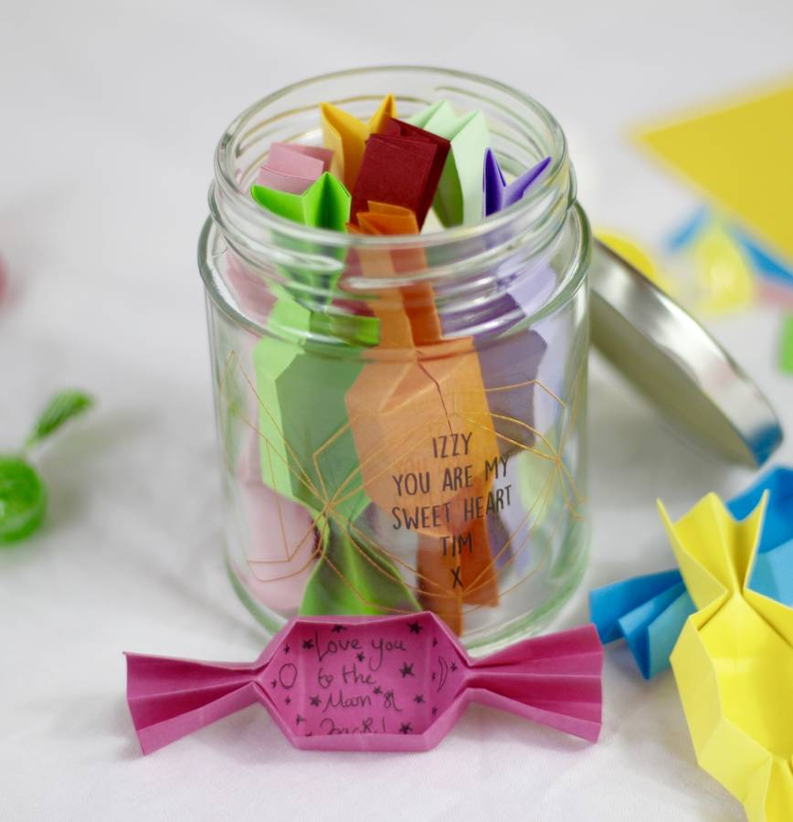 personalised origami sweet message jar by beecycle