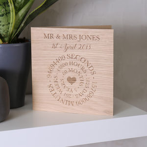 Anniversary Wooden Time Card
