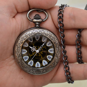 Engraved Quartz Pocket Watch Hearts Design - winter sale