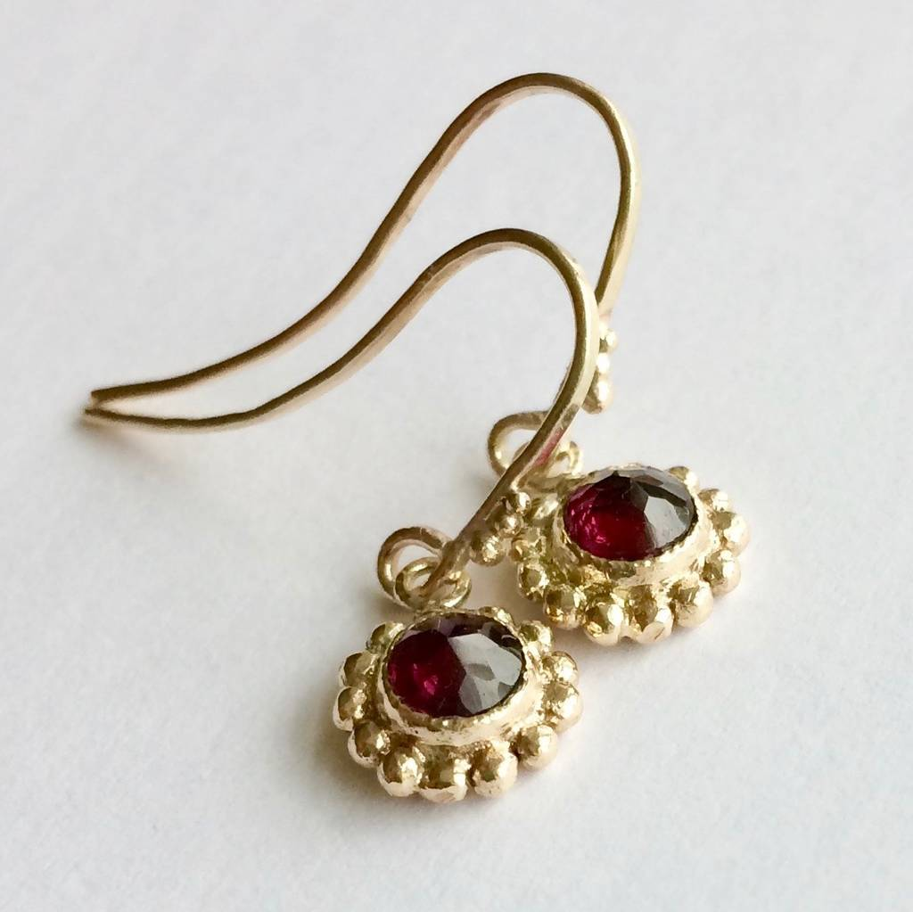 Solid 9ct Yellow Garnet Eco Gold Earrings