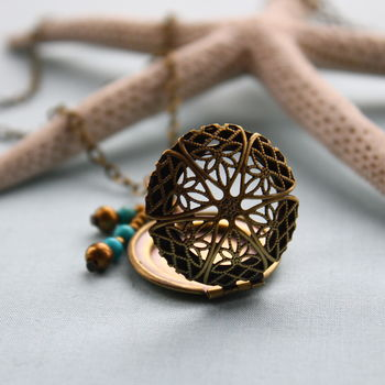Antique Brass Filigree Locket With Turquoise Stones