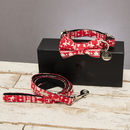 The Finland Red Festive Dog Collar Bow Tie And Lead Set