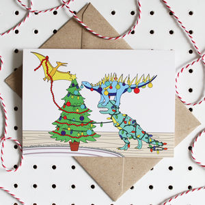Decorating The Tree Dinosaurs Christmas Greeting Card - cards
