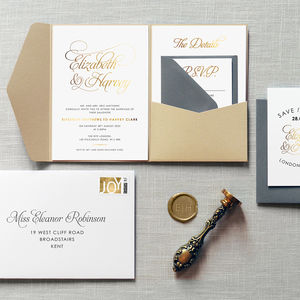 Baroque Foil Wedding Invitation - save the date cards
