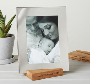 Silver Photo Frame With Personalised Stand - picture frames