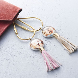 Personalised Photo Bag Charm/ Keyring - for sisters