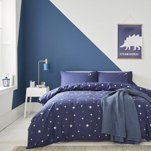 Navy Stars Organic Bed Linen From