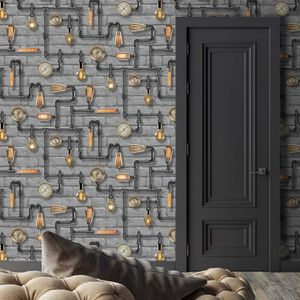 Steampunk In Grey By Woodchip And Magnolia - wallpaper