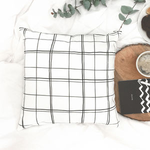 Monochrome Scandinavian Check Pattern Cushion
