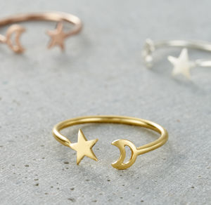 Moon And Star Open Ring - wedding rings