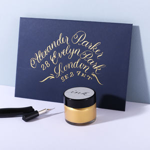 Gold Calligraphy Ink - stylish stationery ideas