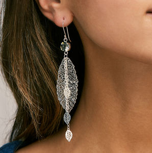 Crystal Leaf Earrings - earrings