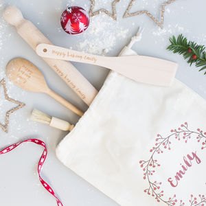 Christmas Personalised Baking Set With Bag - utensils