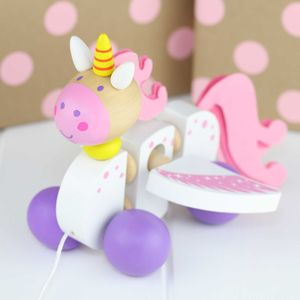 Wooden Pull Along Magical Unicorn - traditional toys & games